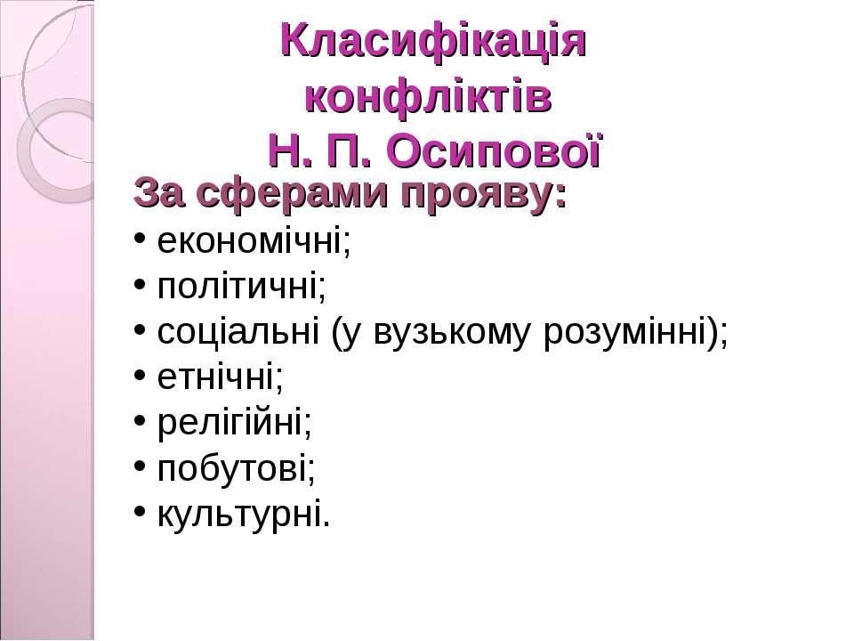 Класифікація конфліктів Н. П. Осипової За сферами прояву: економічні; політич...