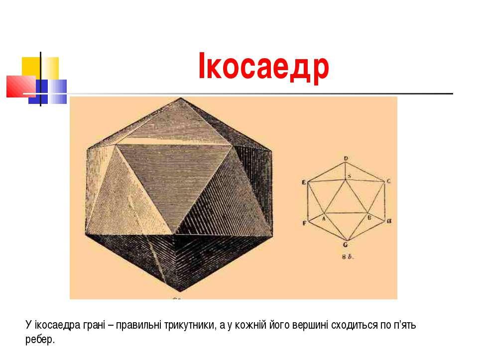 Ікосаедр У ікосаедра грані – правильні трикутники, а у кожній його вершині сх...