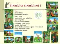 Should or should not ? Use: break trees pick lot's of flowers plant trees cat...