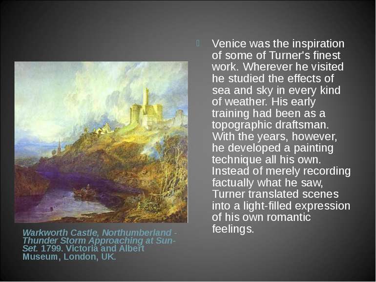 Warkworth Castle, Northumberland - Thunder Storm Approaching at Sun-Set. 1799...