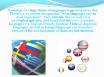 Nowadays, the importance of languages is growing every day. Therefore, to ans...