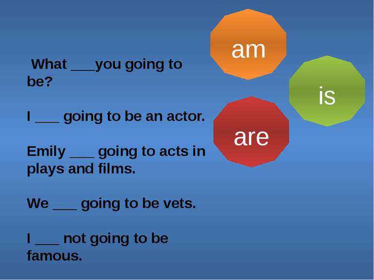 am is are What ___you going to be? I ___ going to be an actor. Emily ___ goin...