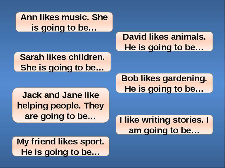 Ann likes music. She is going to be… David likes animals. He is going to be… ...