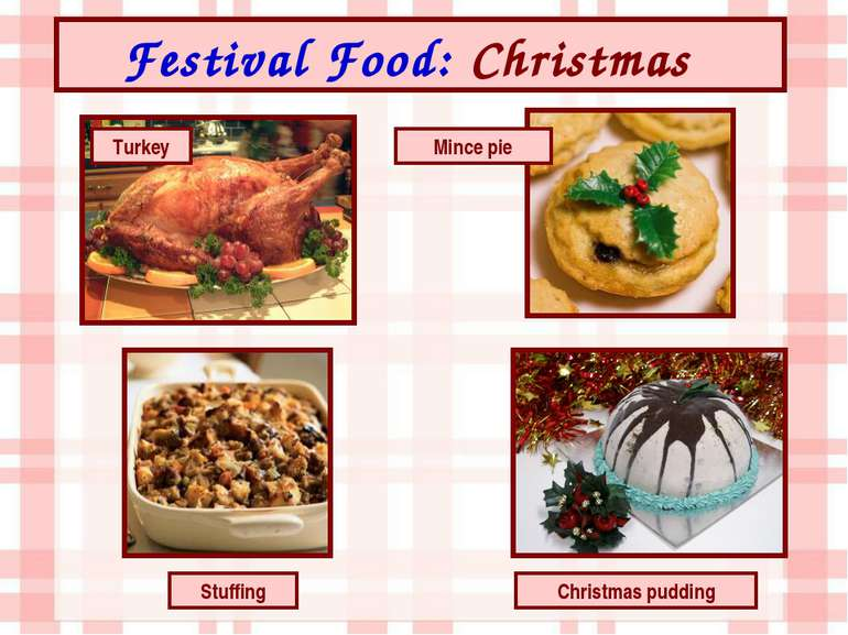 Festival Food: Christmas Turkey Christmas pudding Mince pie Stuffing