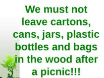 We must not leave cartons, cans, jars, plastic bottles and bags in the wood a...