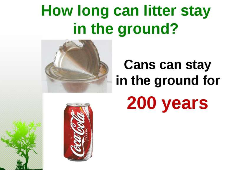 How long can litter stay in the ground? Cans can stay in the ground for 200 y...