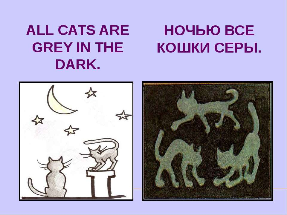 ALL CATS ARE GREY IN THE DARK. НОЧЬЮ ВСЕ КОШКИ СЕРЫ.