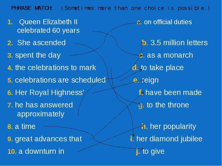 PHRASE MATCH:  (Sometimes more than one choice is possible.) 1. Queen Elizabe...
