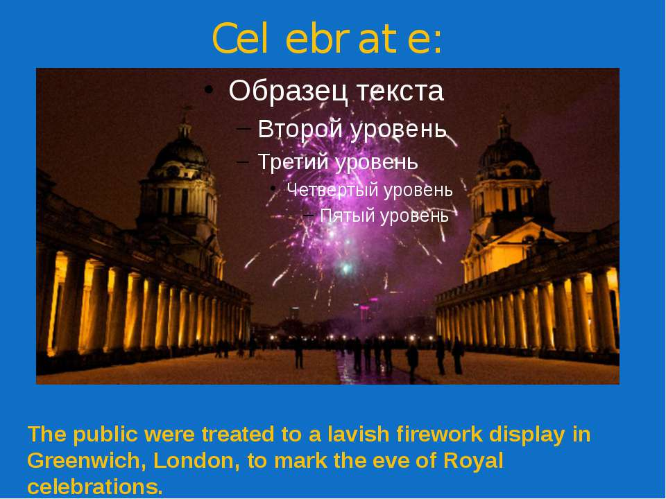 Celebrate: The public were treated to a lavish firework display in Greenwich,...