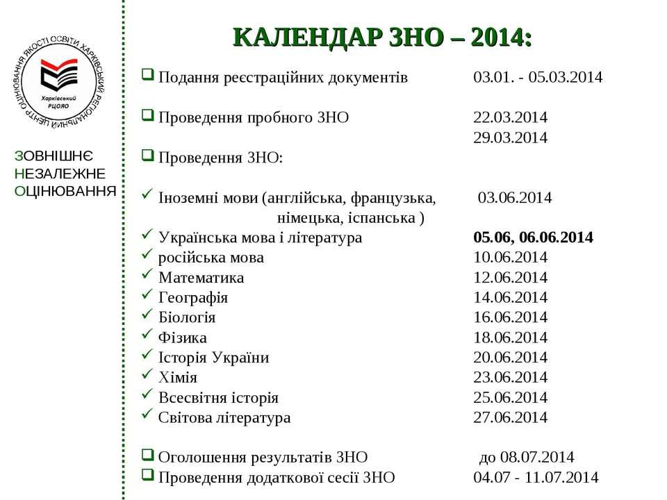 КАЛЕНДАР ЗНО – 2014: Подання реєстраційних документів 03.01. - 05.03.2014 Про...