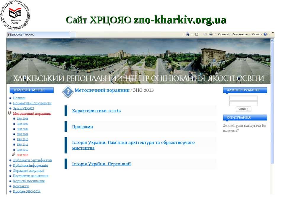 Сайт ХРЦОЯО zno-kharkiv.org.ua