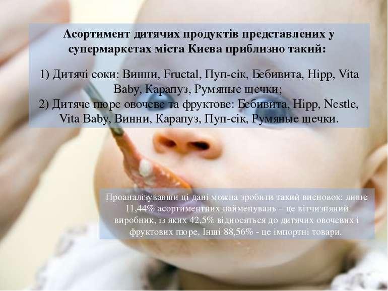 Асортимент дитячих продуктів представлених у супермаркетах міста Києва прибли...