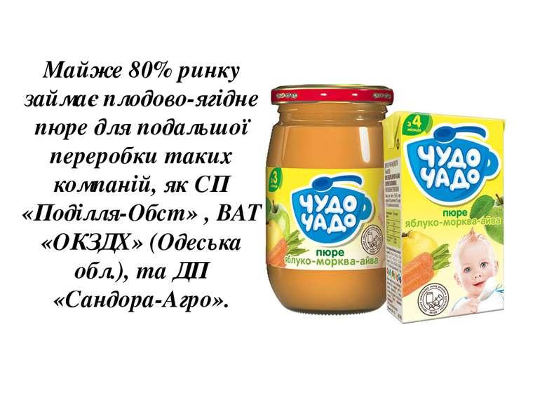 Майже 80% ринку займає плодово-ягідне пюре для подальшої переробки таких комп...