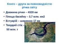Конго – друга за повноводністю річка світу Довжина річки – 4320 км Площа басе...