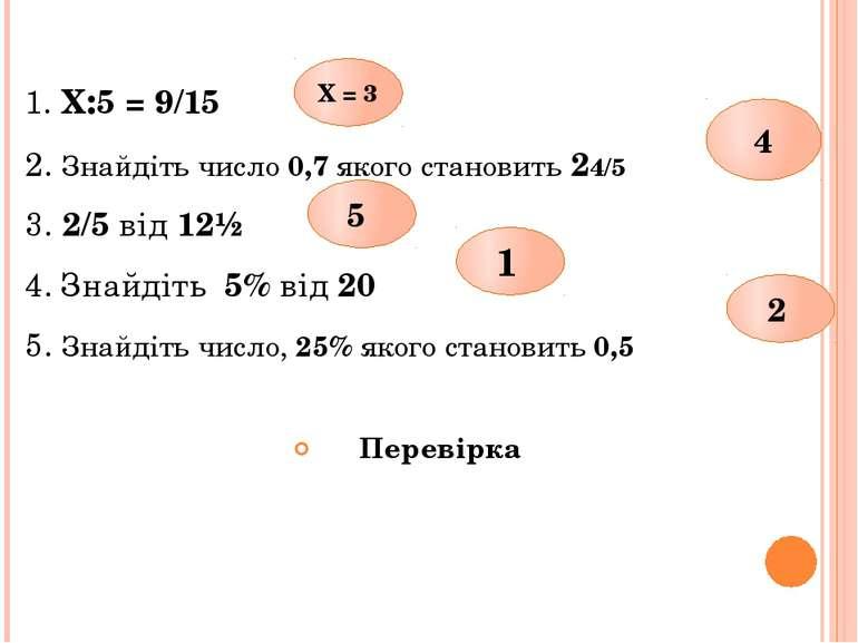 1. Х:5 = 9/15 2. Знайдіть число 0,7 якого становить 24/5 3. 2/5 від 12½ 4. Зн...