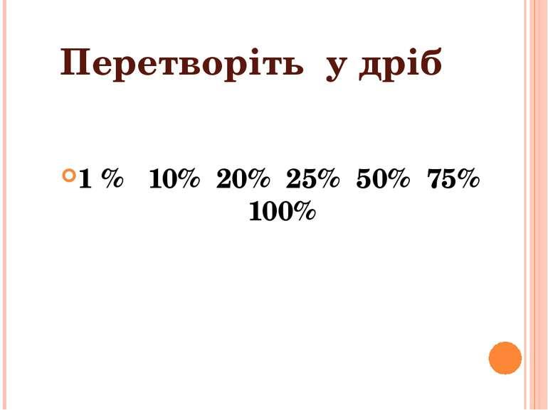 Перетворіть у дріб 1 % 10% 20% 25% 50% 75% 100%