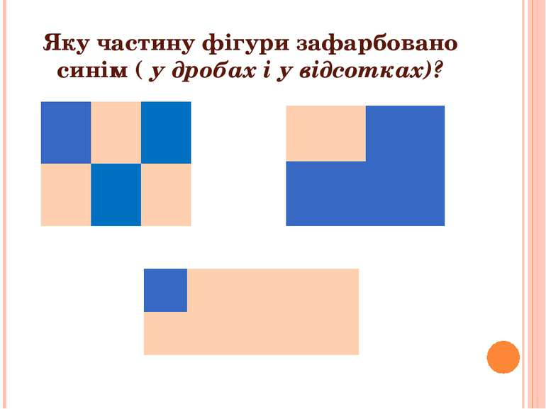 Яку частину фігури зафарбовано синім ( у дробах і у відсотках)?