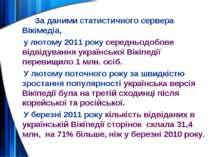 За даними статистичного сервера Вікімедіа, у лютому 2011 року середньодобове ...