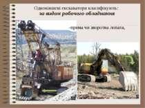Одноківшеві екскаватори класифікують: за видом робочого обладнання -пряма чи ...
