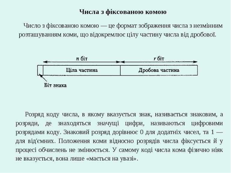 Числа з фіксованою комою Число з фіксованою комою — це формат зображення числ...