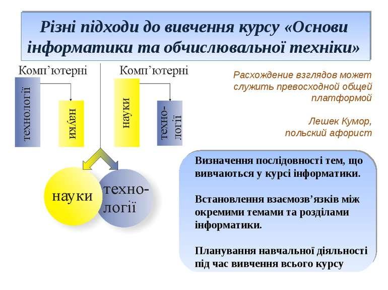 Різні підходи до вивчення курсу «Основи інформатики та обчислювальної техніки...