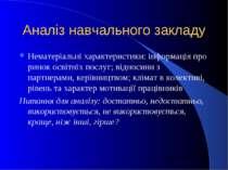 Аналіз навчального закладу Нематеріальні характеристики: інформація про ринок...