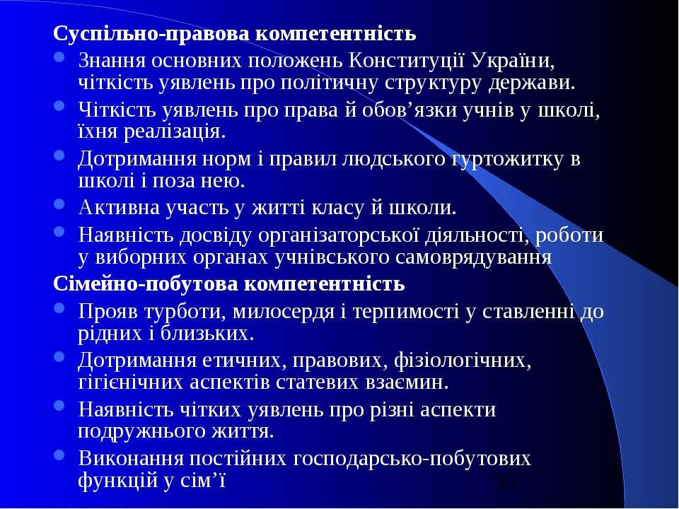 Суспільно-правова компетентність Знання основних положень Конституції України...