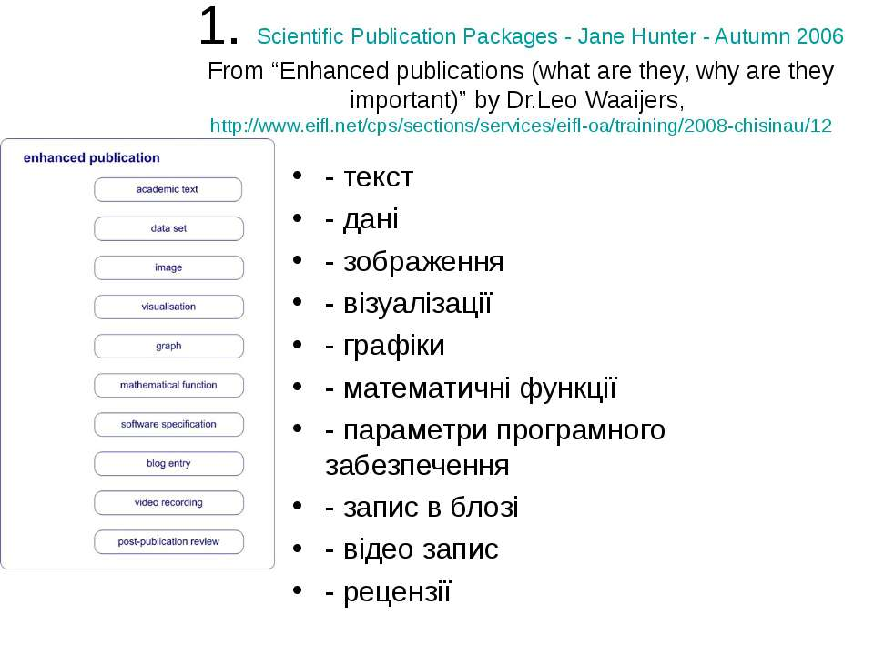 """1. Scientific Publication Packages - Jane Hunter - Autumn 2006 From """"Enhanced..."""