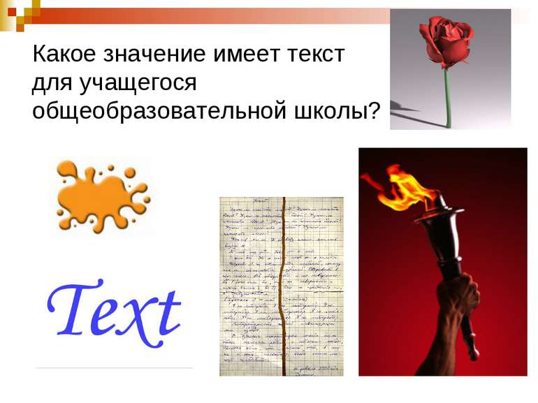 Какое значение имеет текст для учащегося общеобразовательной школы?