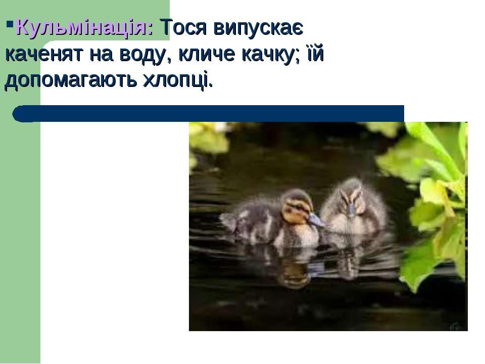 Кульмінація: Тося випускає каченят на воду, кличе качку; їй допомагають хлопці.