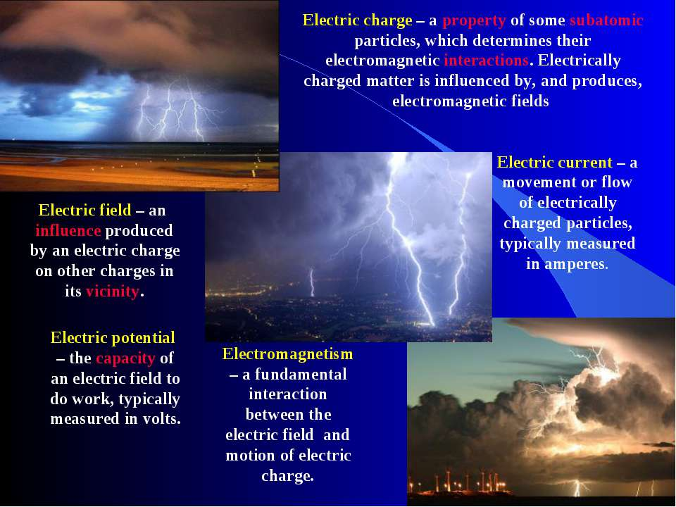 Electric charge – a property of some subatomic particles, which determines th...