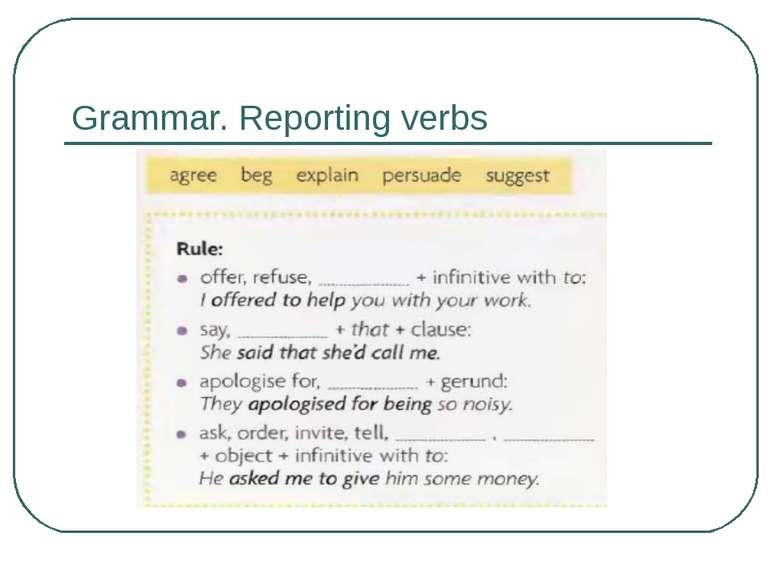 Grammar. Reporting verbs