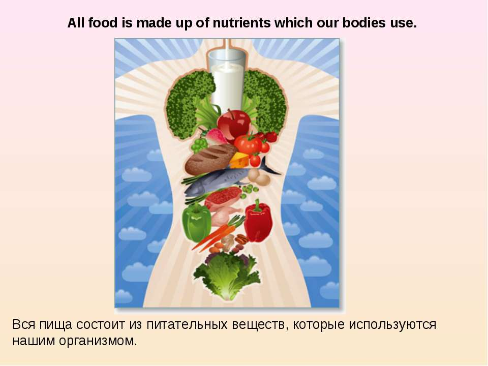 All food is made up of nutrients which our bodies use. Вся пища состоит из пи...