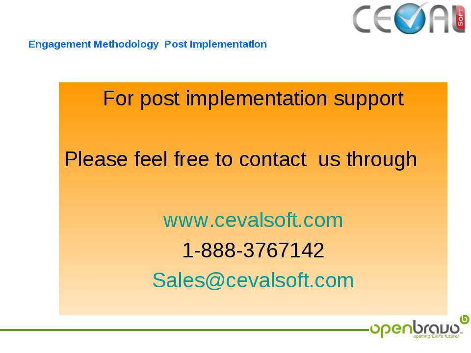 Engagement Methodology Post Implementation For post implementation support Pl...