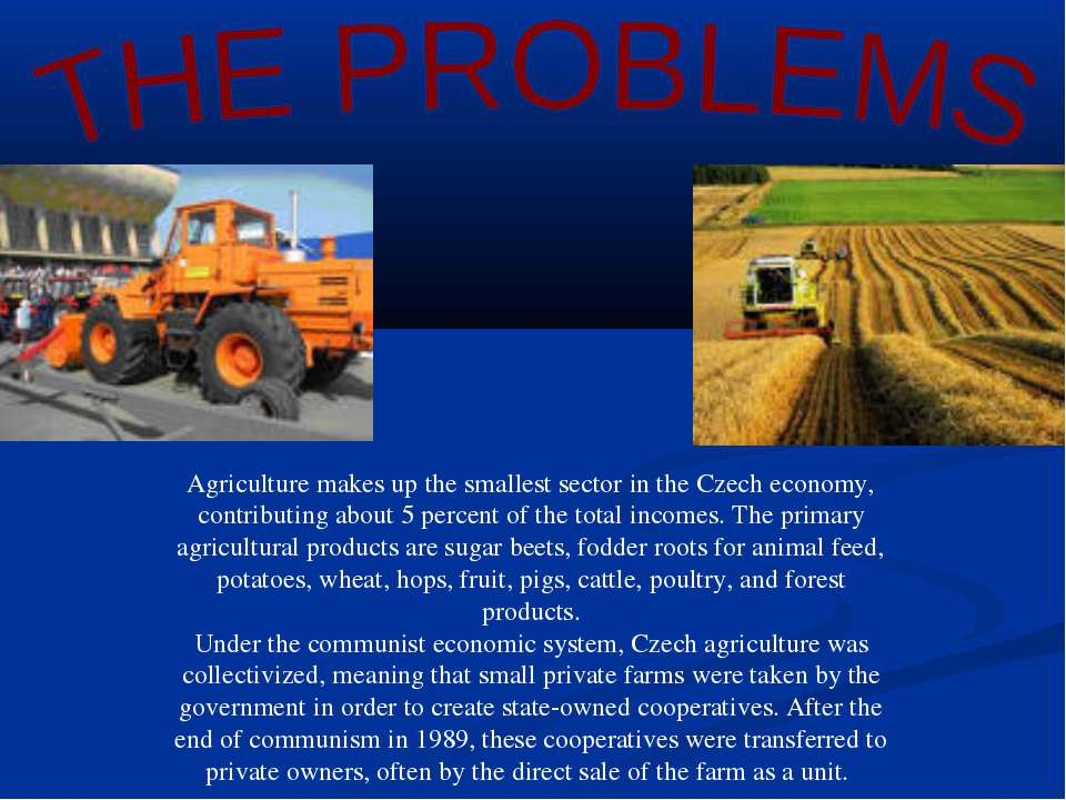 Agriculture makes up the smallest sector in the Czech economy, contributing a...