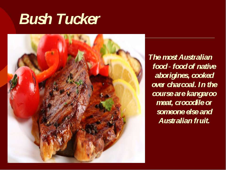 Bush Tucker The most Australian food - food of native aborigines, cooked over...