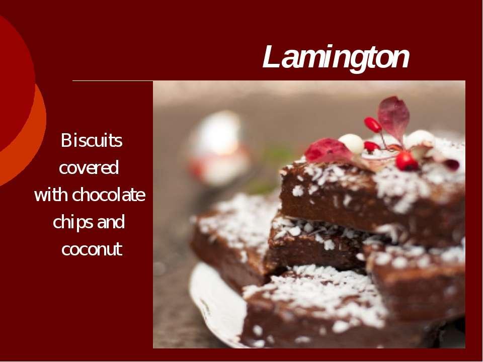Lamington  Biscuits covered with chocolate chips and coconut