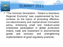 "SUMMIT 2011 ""The Honolulu Declaration - Toward a Seamless Regional Economy"" w..."