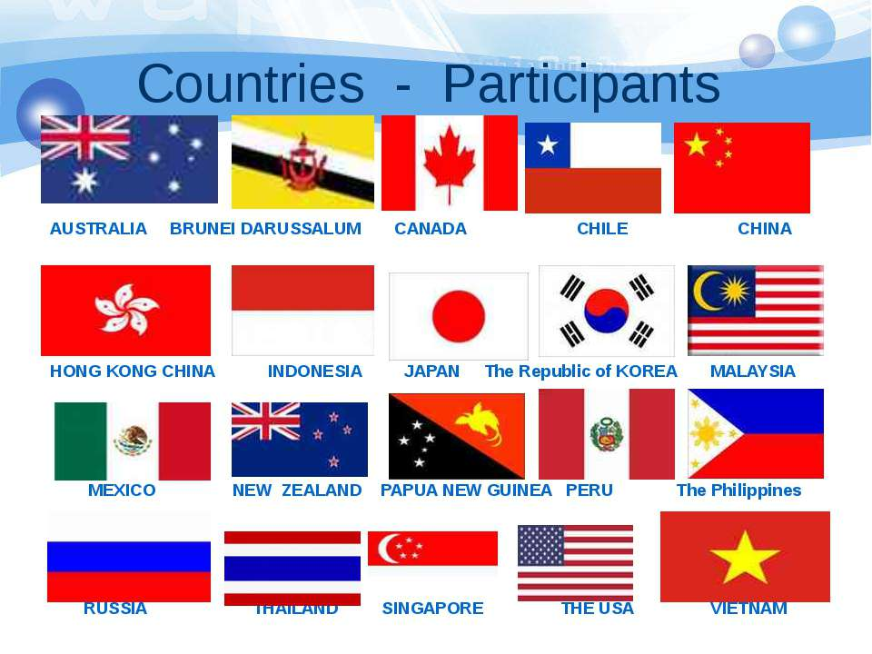 Countries - Participants AUSTRALIA BRUNEI DARUSSALUM CANADA CHILE CHINA HONG ...