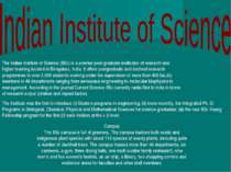 The Indian Institute of Science (IISc) is a premier post-graduate institution...