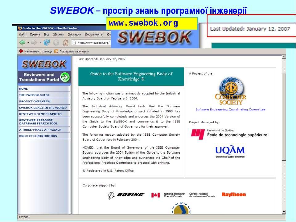SWEBOK – простір знань програмної інженерії www.swebok.org Основи програмної ...