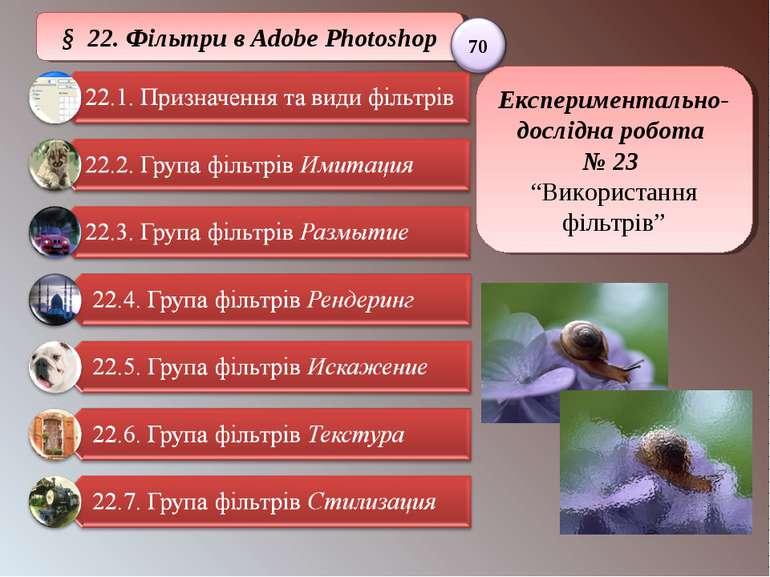 """§ 22. Фільтри в Adobe Photoshop Експериментально-дослідна робота № 23 """"Викори..."""