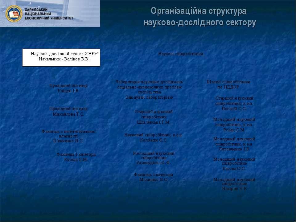 Організаційна структура науково-дослідного сектору