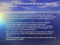 Фактори, які впливають на криву дисоціації температура, рН, РСО2, концентраці...