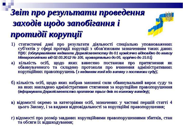 Звіт про результати проведення заходів щодо запобігання і протидії корупції 1...