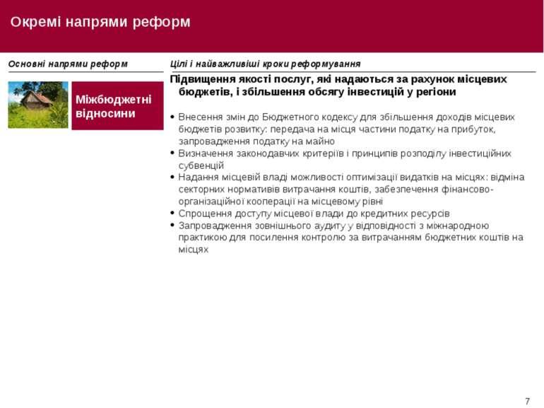 * Окремі напрями реформ Основні напрями реформ Цілі і найважливіші кроки рефо...
