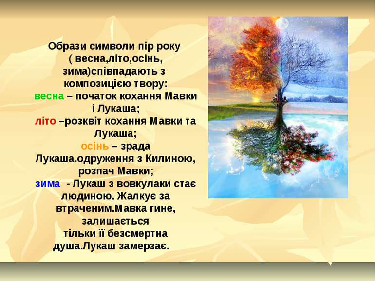 Образи символи пір року ( весна,літо,осінь, зима)співпадають з композицією тв...