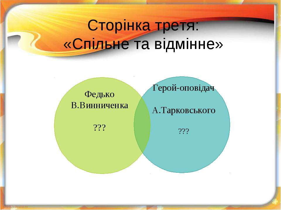 Сторінка третя: «Спільне та відмінне» © Шапран В.С. http://vitshap.blogspot.com