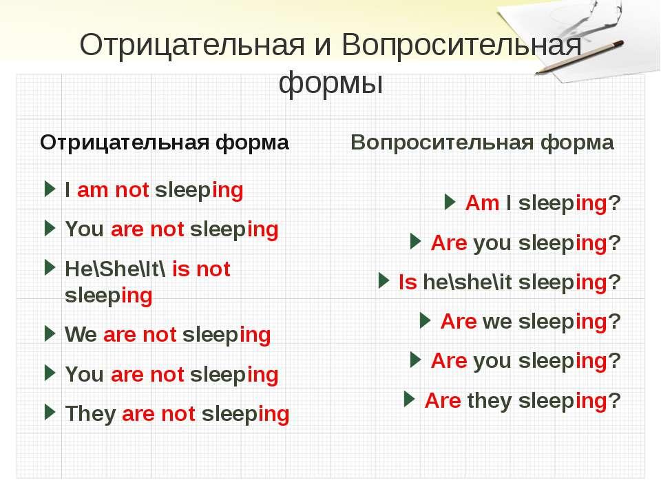 Отрицательная и Вопросительная формы Отрицательная форма I am not sleeping Yo...