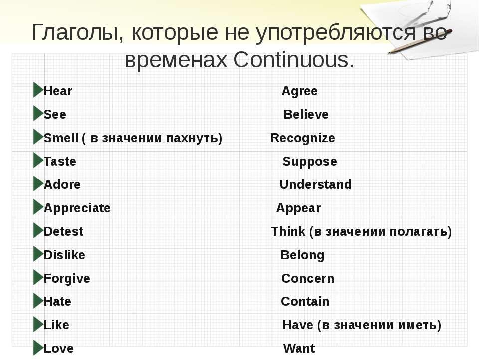 Глаголы, которые не употребляются во временах Continuous. Hear Agree See Beli...